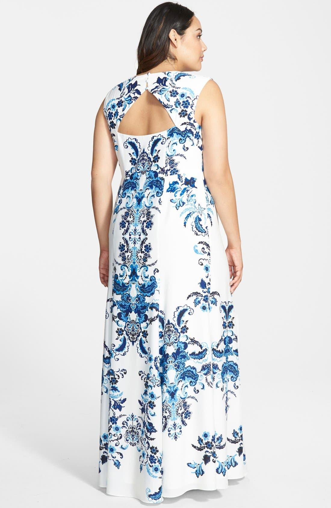 Alternate Image 2  - Eliza J Placed Print Crêpe de Chine Maxi Dress (Plus Size)