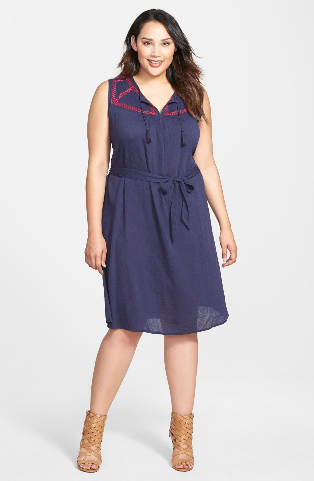 Alternate Image 3  - Caslon® Embroidered Yoke Sleeveless Shift Dress (Plus Size)