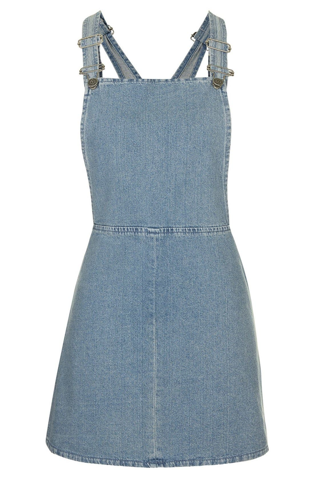 Alternate Image 3  - Topshop Moto Vintage Wash Pinafore Dress