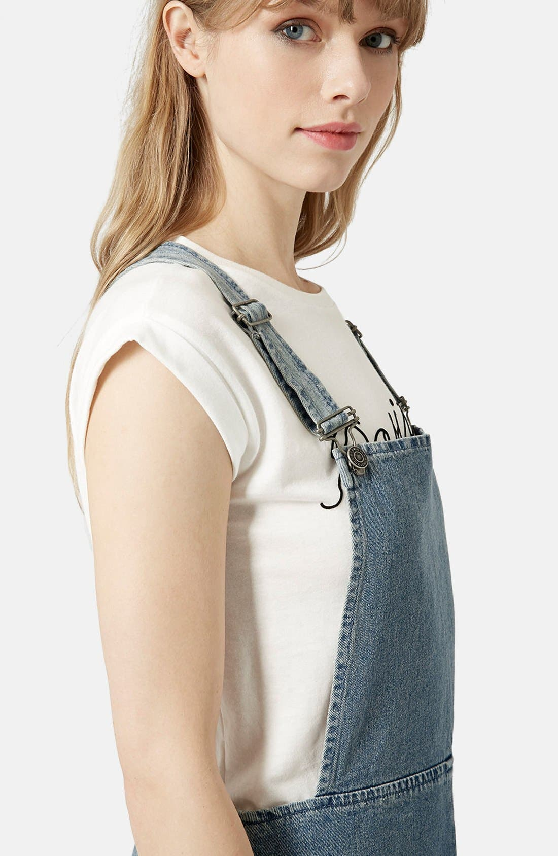 Alternate Image 4  - Topshop Moto Vintage Wash Pinafore Dress