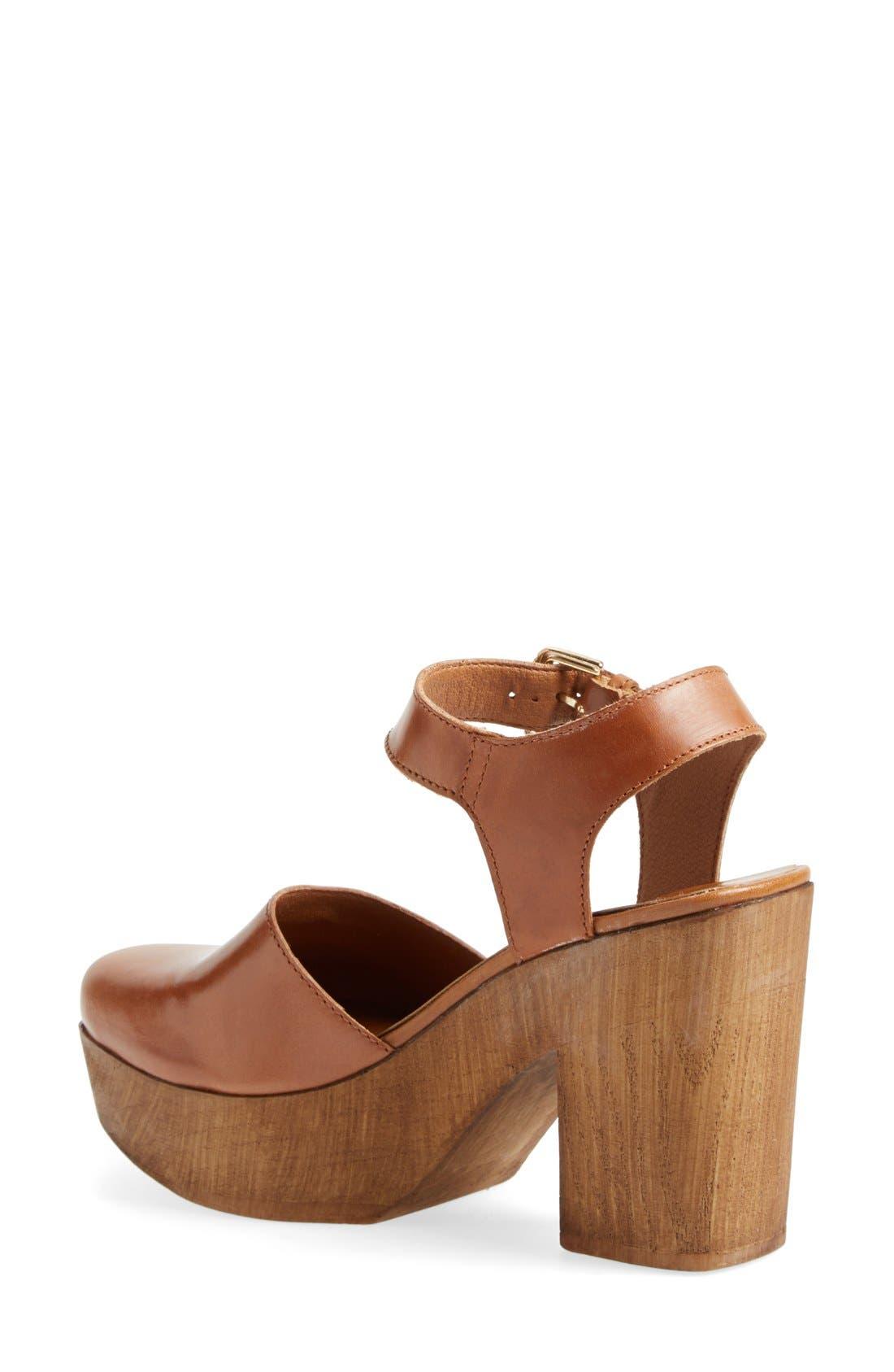 Alternate Image 4  - Topshop 'Smile' Wooden Platform Leather Sandal (Women)