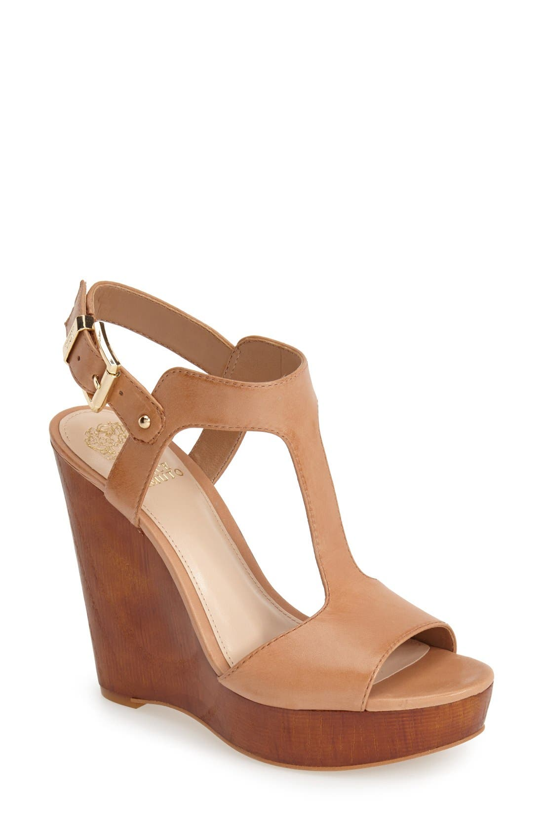 Alternate Image 1 Selected - Vince Camuto 'Mathis' T-Strap Wedge Sandal (Women)