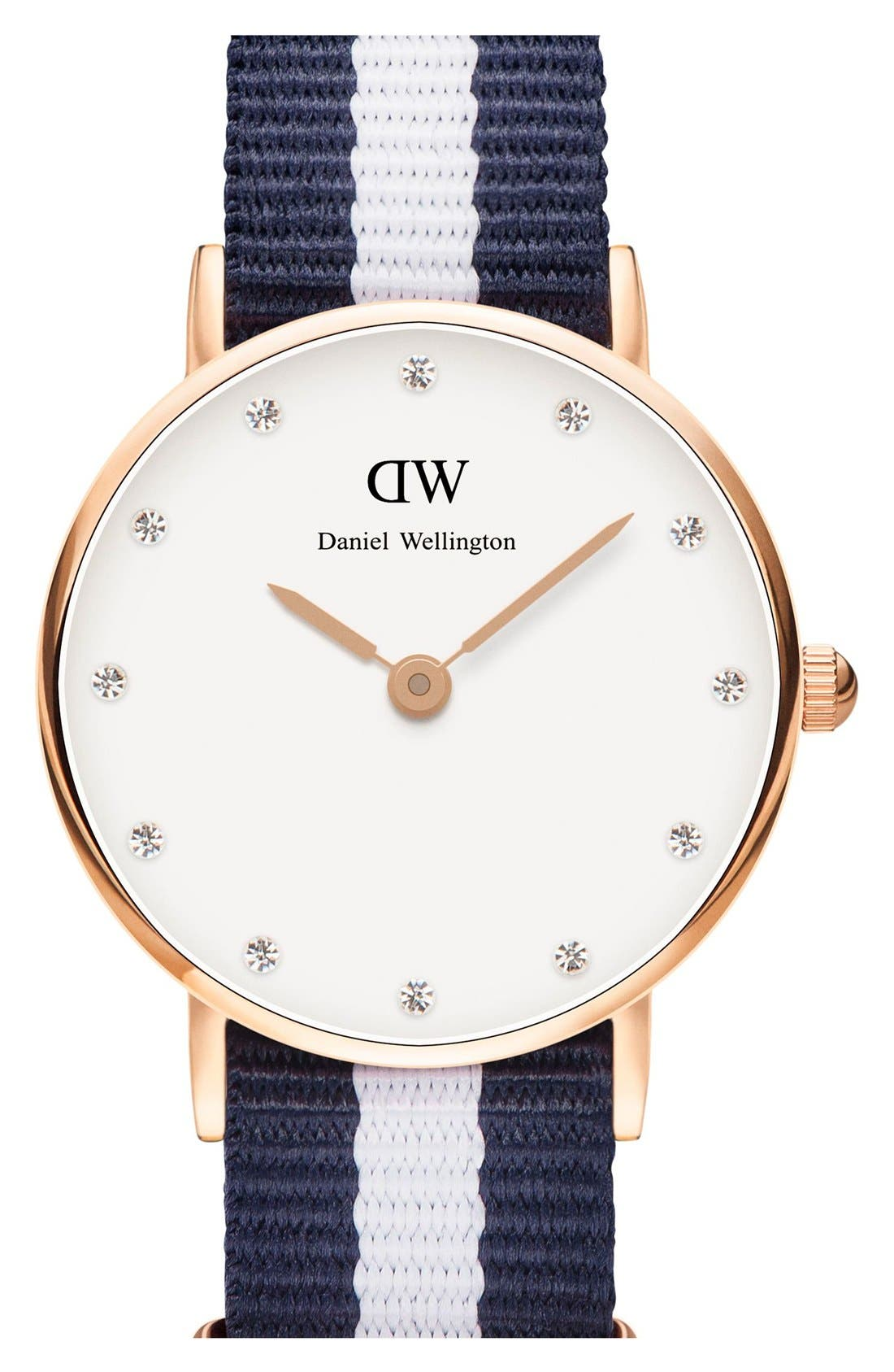 Alternate Image 1 Selected - Daniel Wellington 'Classy Glasgow' Crystal Index NATO Strap Watch, 26mm