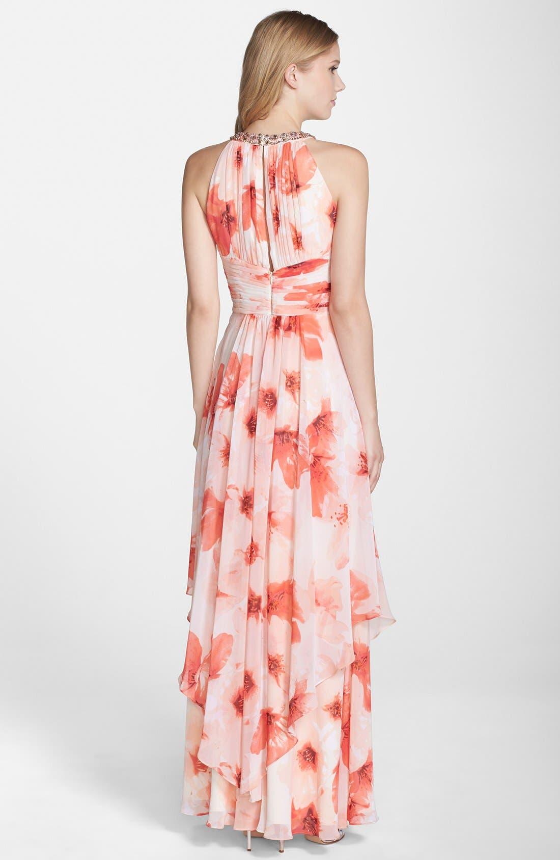 Alternate Image 2  - Eliza J Embellished Floral Print Chiffon Gown (Regular & Petite)