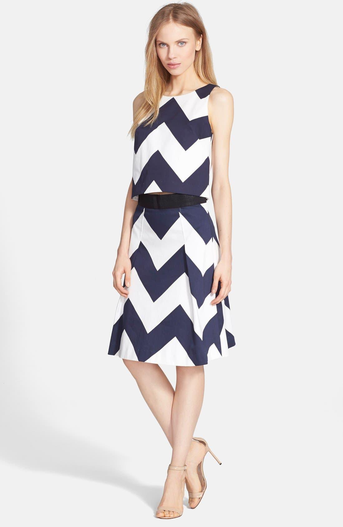 Alternate Image 4  - Milly Chevron Print A-Line Skirt