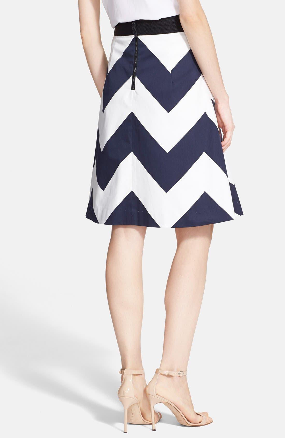 Alternate Image 2  - Milly Chevron Print A-Line Skirt