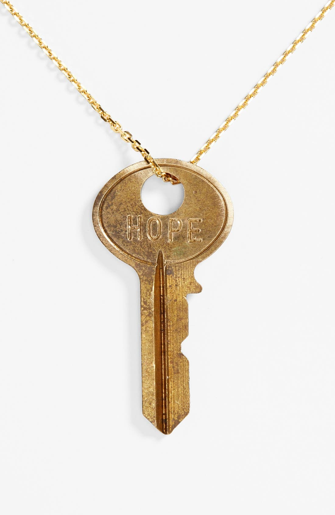 Main Image - The Giving Keys Dainty Classic Hope 18-Inch Gold Key Pendant Necklace