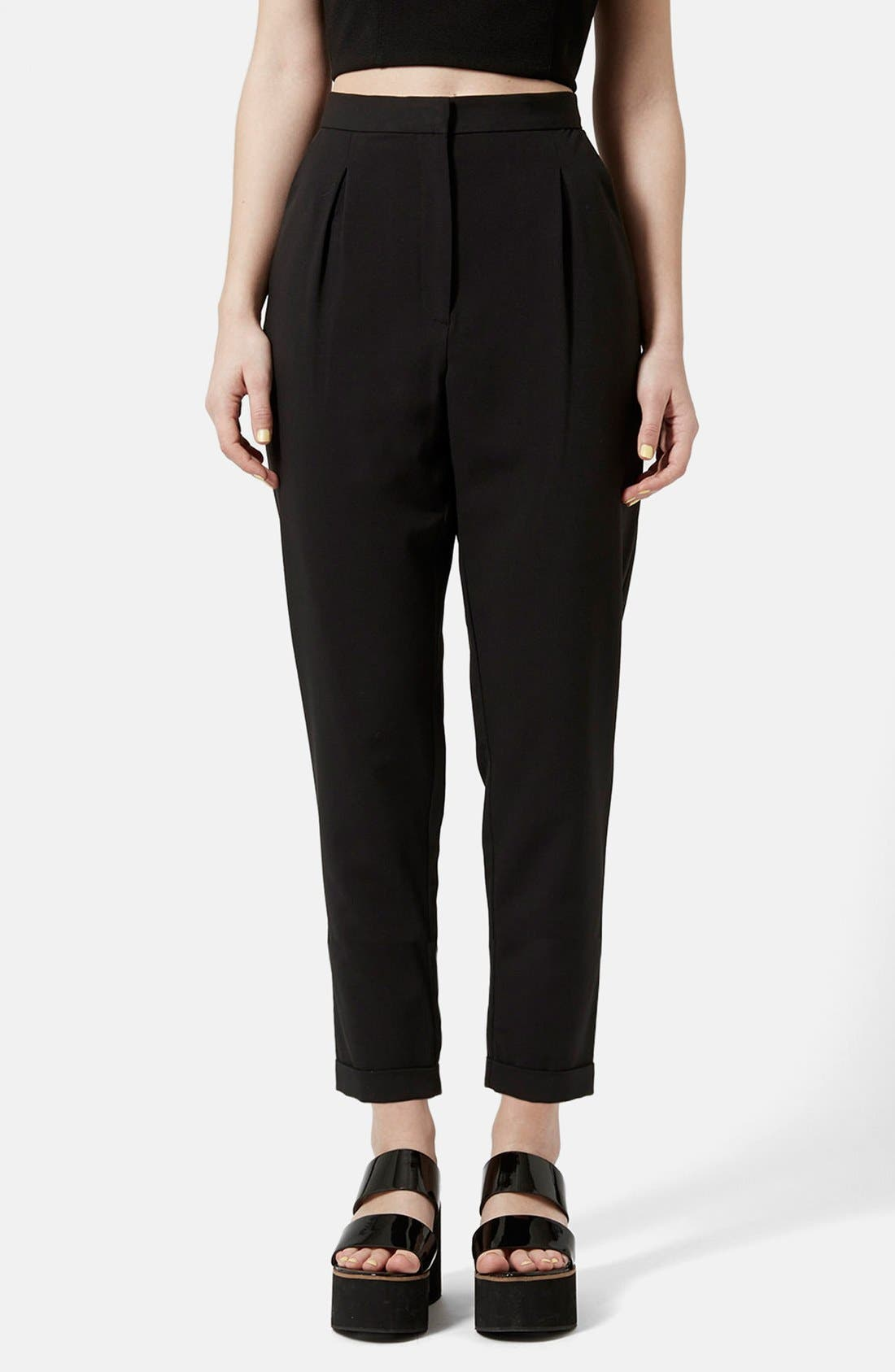 Main Image - Topshop Notch Back Tapered Trousers