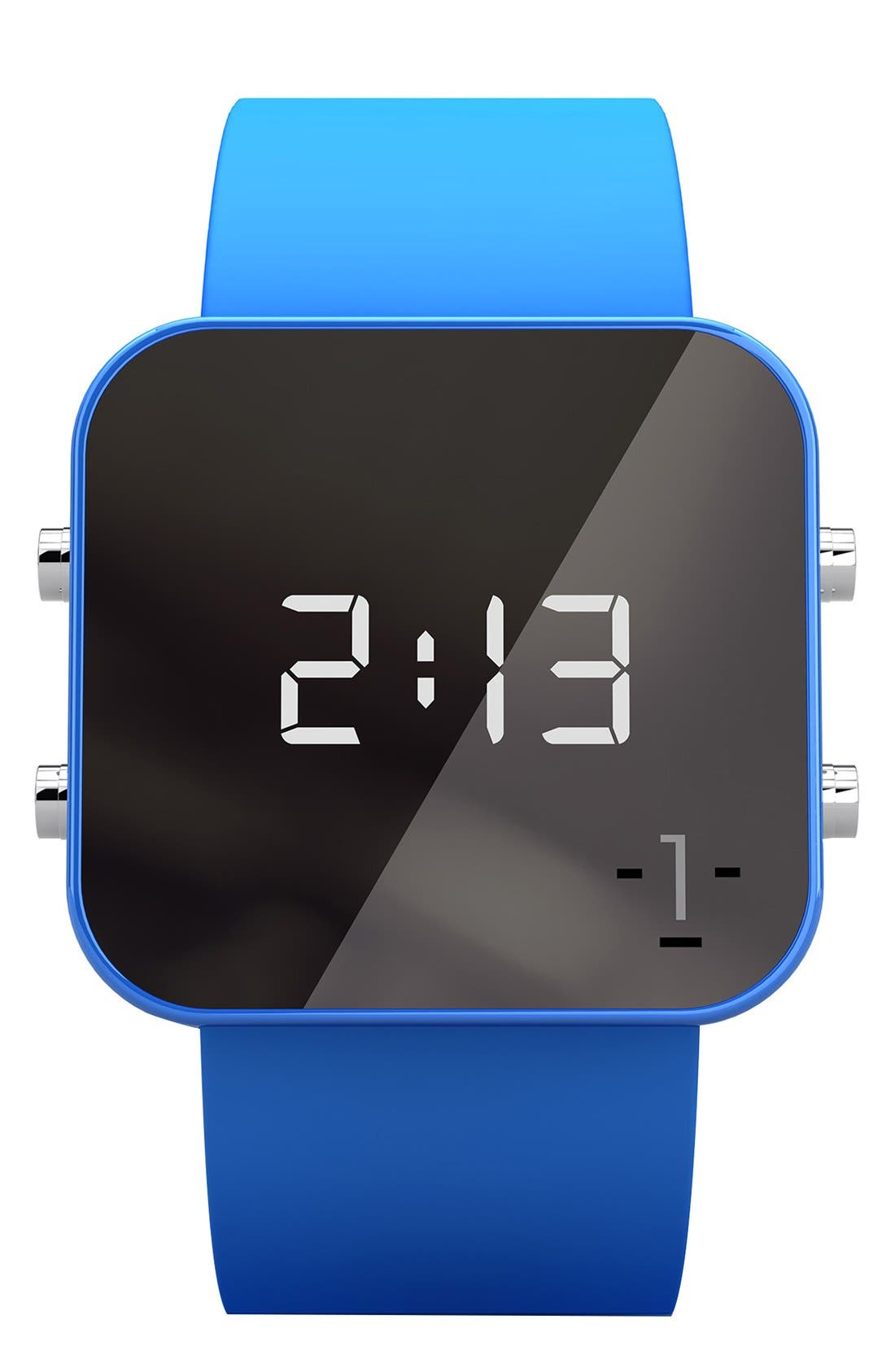 Alternate Image 1 Selected - 1:Face 'Environment' Square Digital Silicone Strap Watch, 38mm