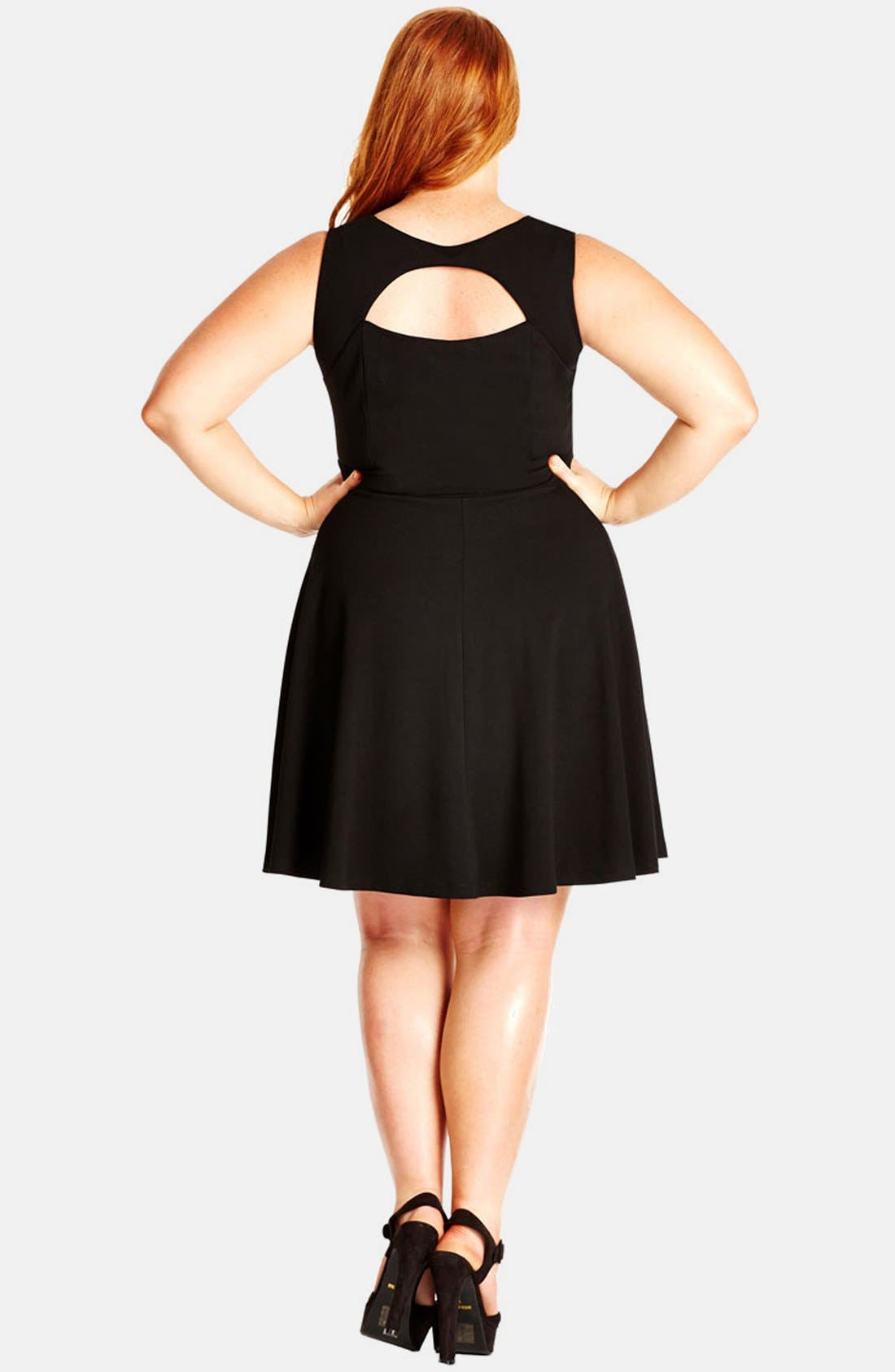 Alternate Image 2  - City Chic 'Peek-a-Boo' Fit & Flare Dress (Plus Size)