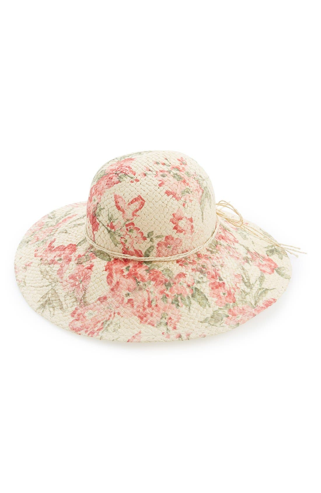 Main Image - David & Young Floral Print Floppy Straw Hat