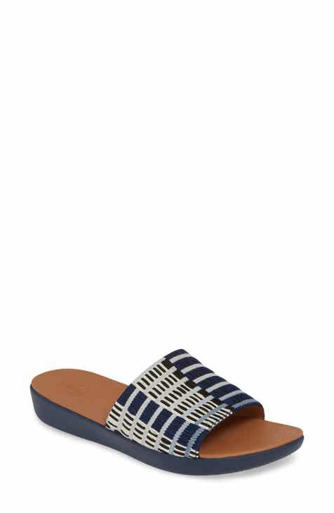 핏플랍 FitFlop Sola Art Denim Slide Sandal,illusion blue fabric