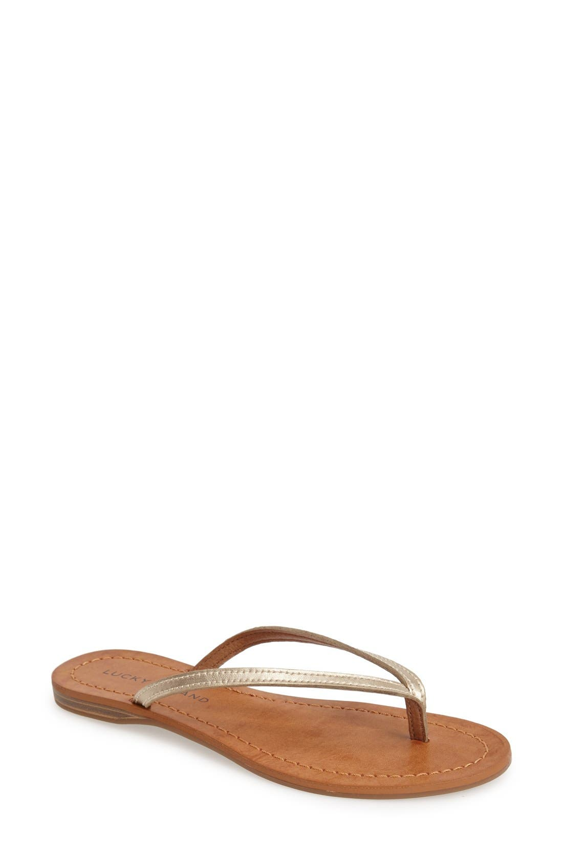 Main Image - Lucky Brand 'Amberr' Leather Thong Sandal (Women)