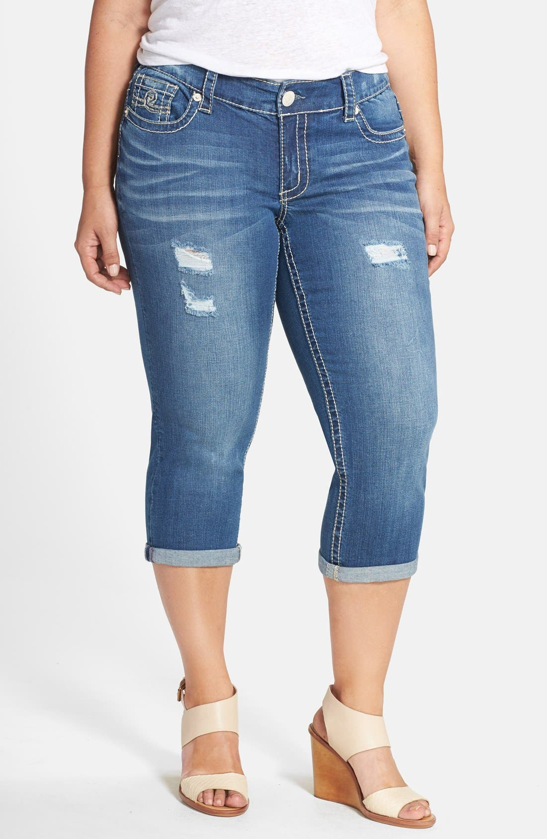 Alternate Image 1 Selected - Seven7 Distressed Rolled Cuff Crop Skinny Jeans (Bishop) (Plus Size)