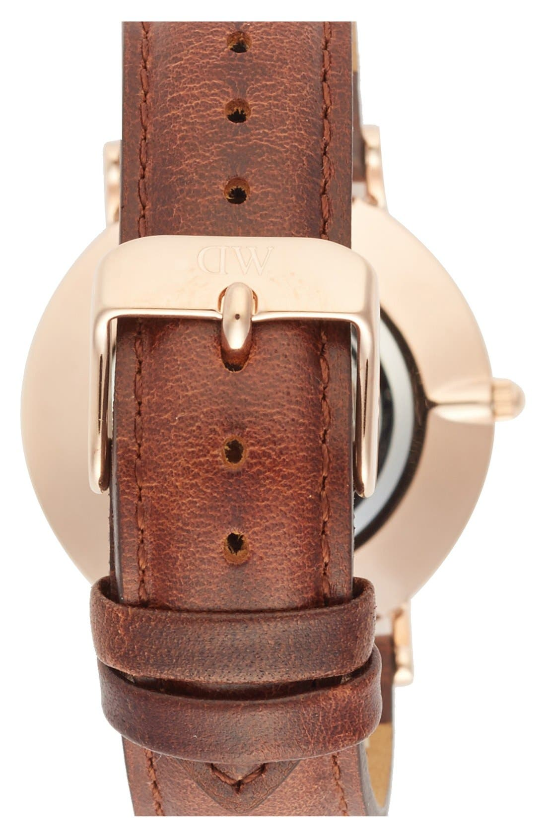 Alternate Image 4  - Daniel Wellington 'Classy St. Mawes' Crystal Index Leather Strap Watch, 34mm