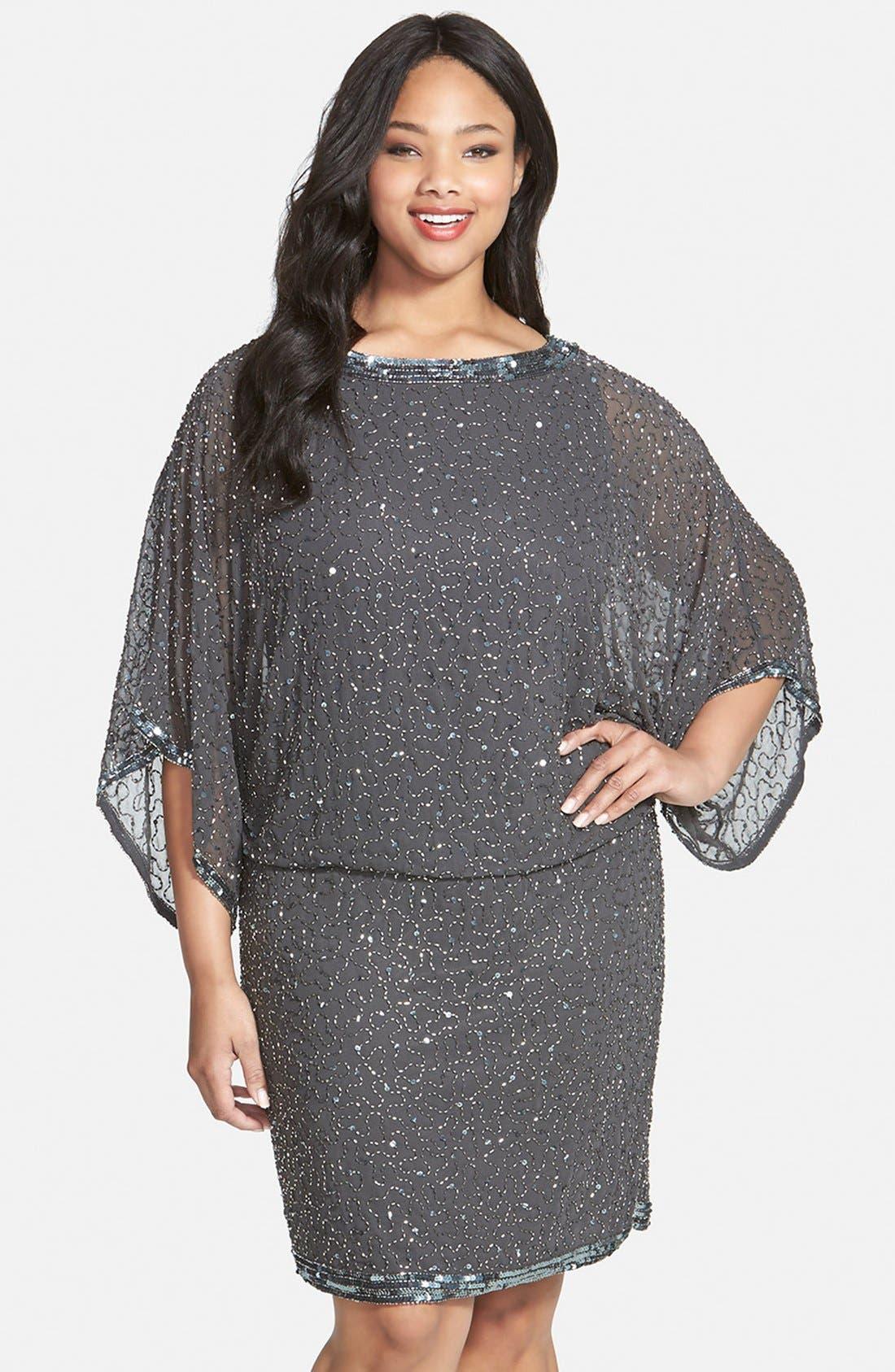 J Kara Embellished Blouson Dress (Plus Size) | Nordstrom