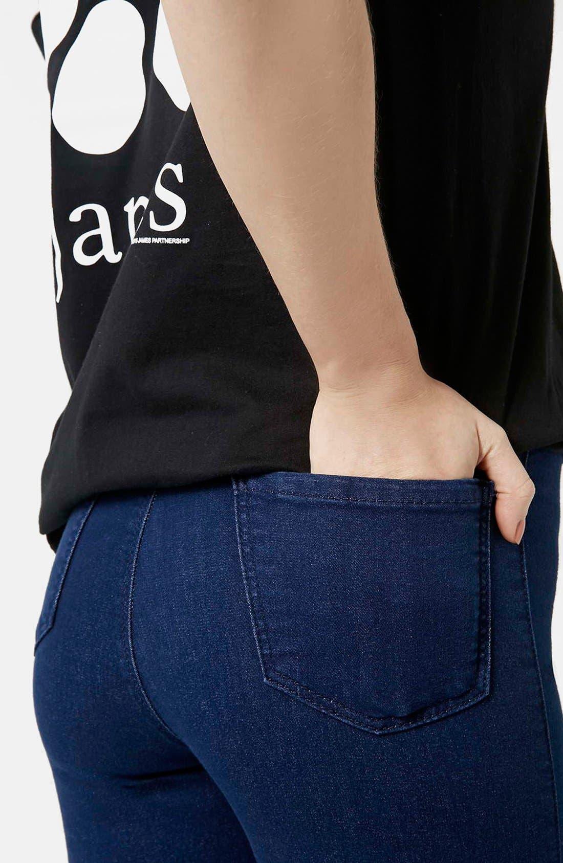 Alternate Image 4  - Topshop Moto 'Joni' Ankle Skinny Jeans (Bright Blue) (Petite)
