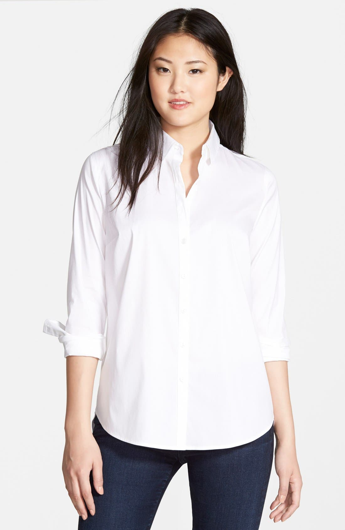 Alternate Image 1 Selected - Halogen® Crisp Stretch Poplin Shirt (Regular & Petite)