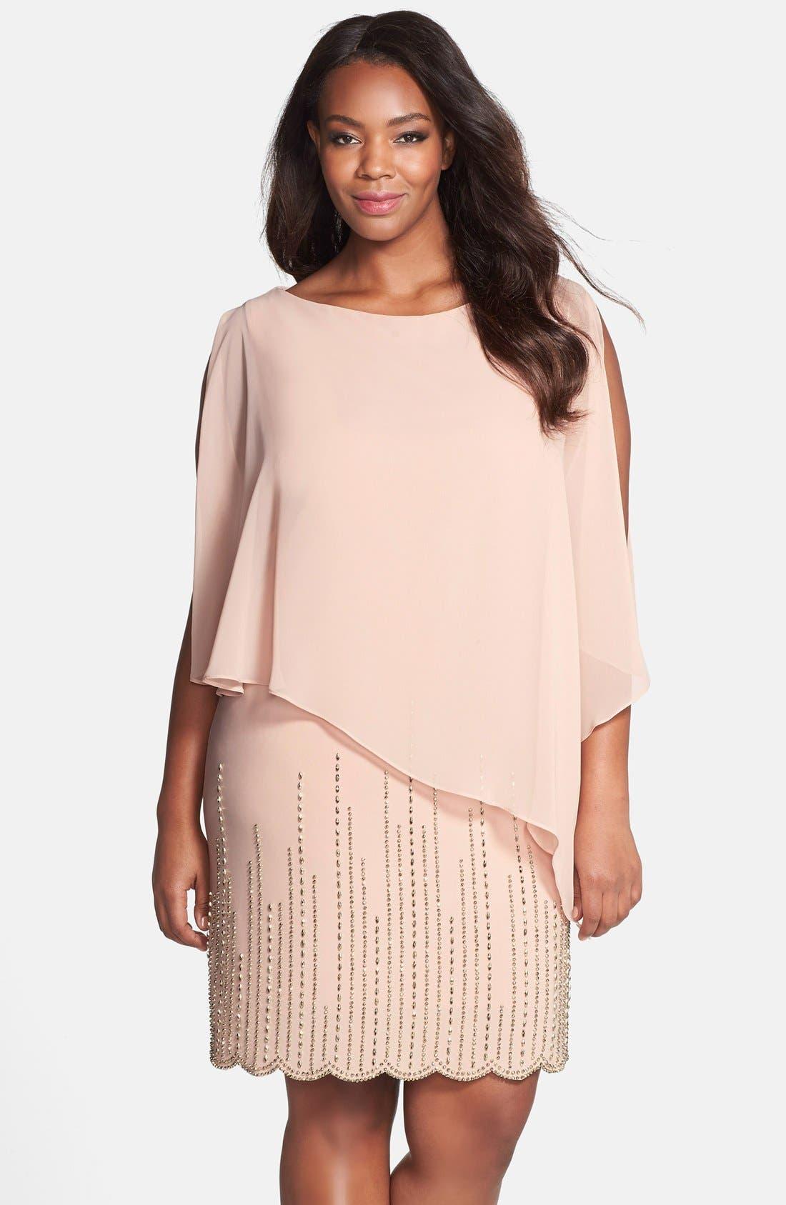 Xscape Chiffon Overlay Beaded Jersey Dress (Plus Size)