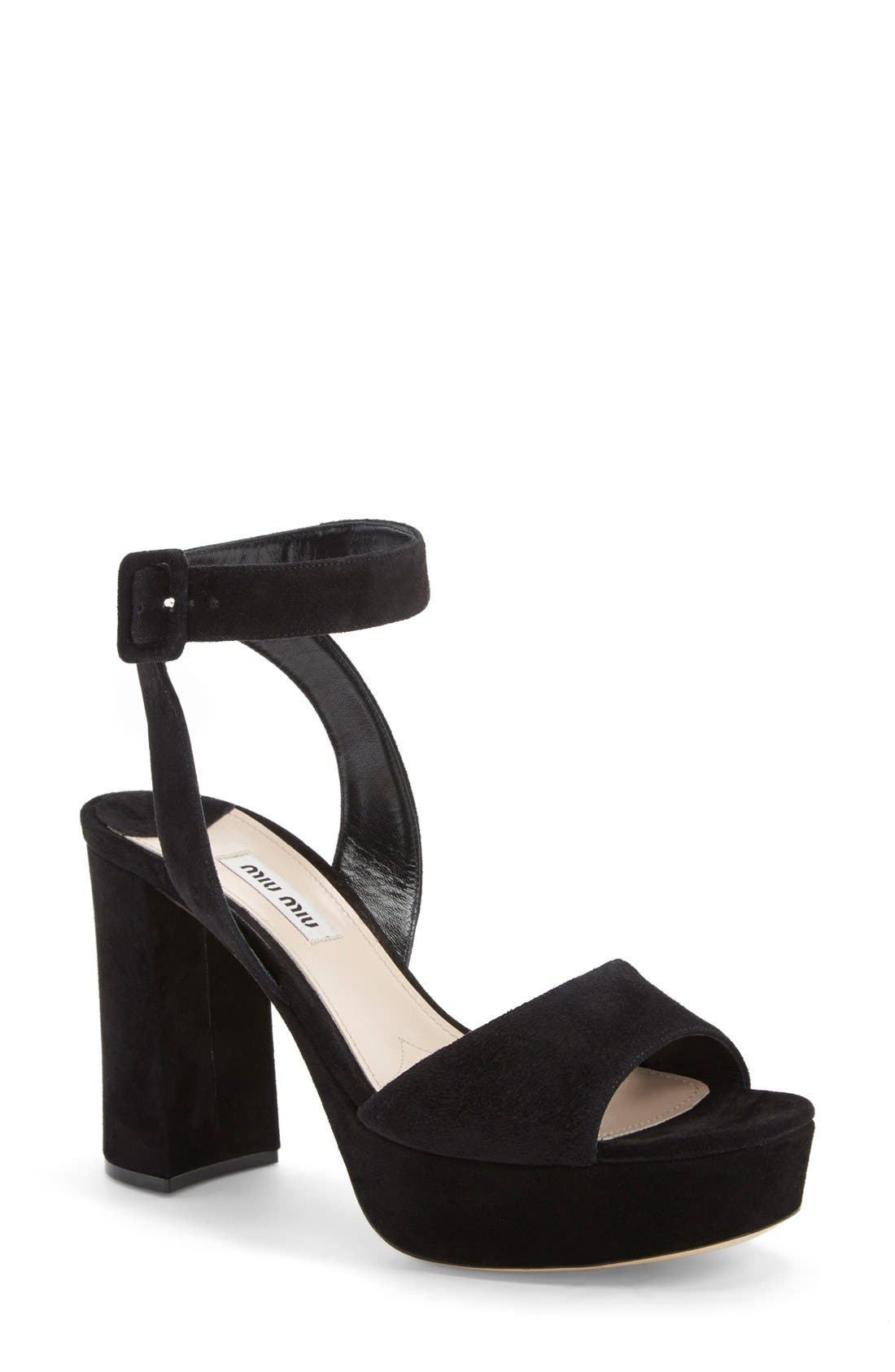 Alternate Image 1 Selected - Miu Miu Block Heel Platform Sandal (Women)
