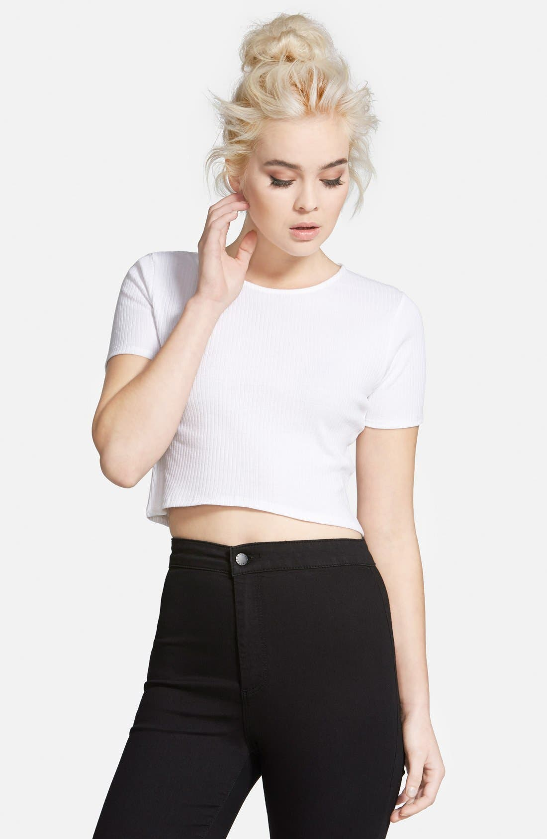 Alternate Image 1 Selected - Topshop Rib Crop Tee