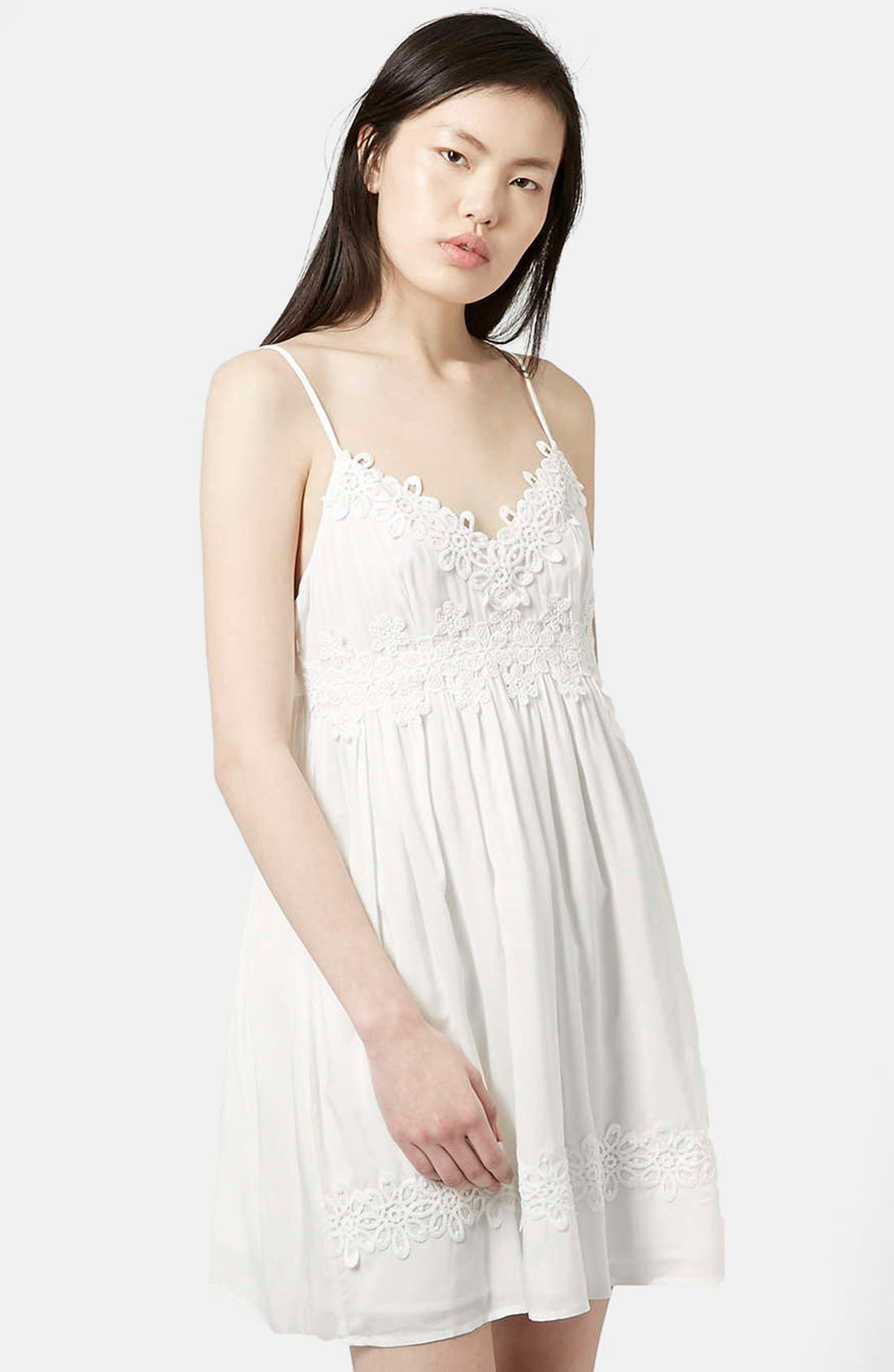 Main Image - Topshop Strappy Appliqué Babydoll Dress