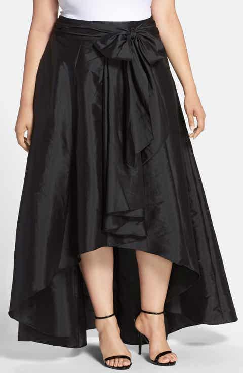 Adrianna Papell High/Low Taffeta Skirt (Plus Size)