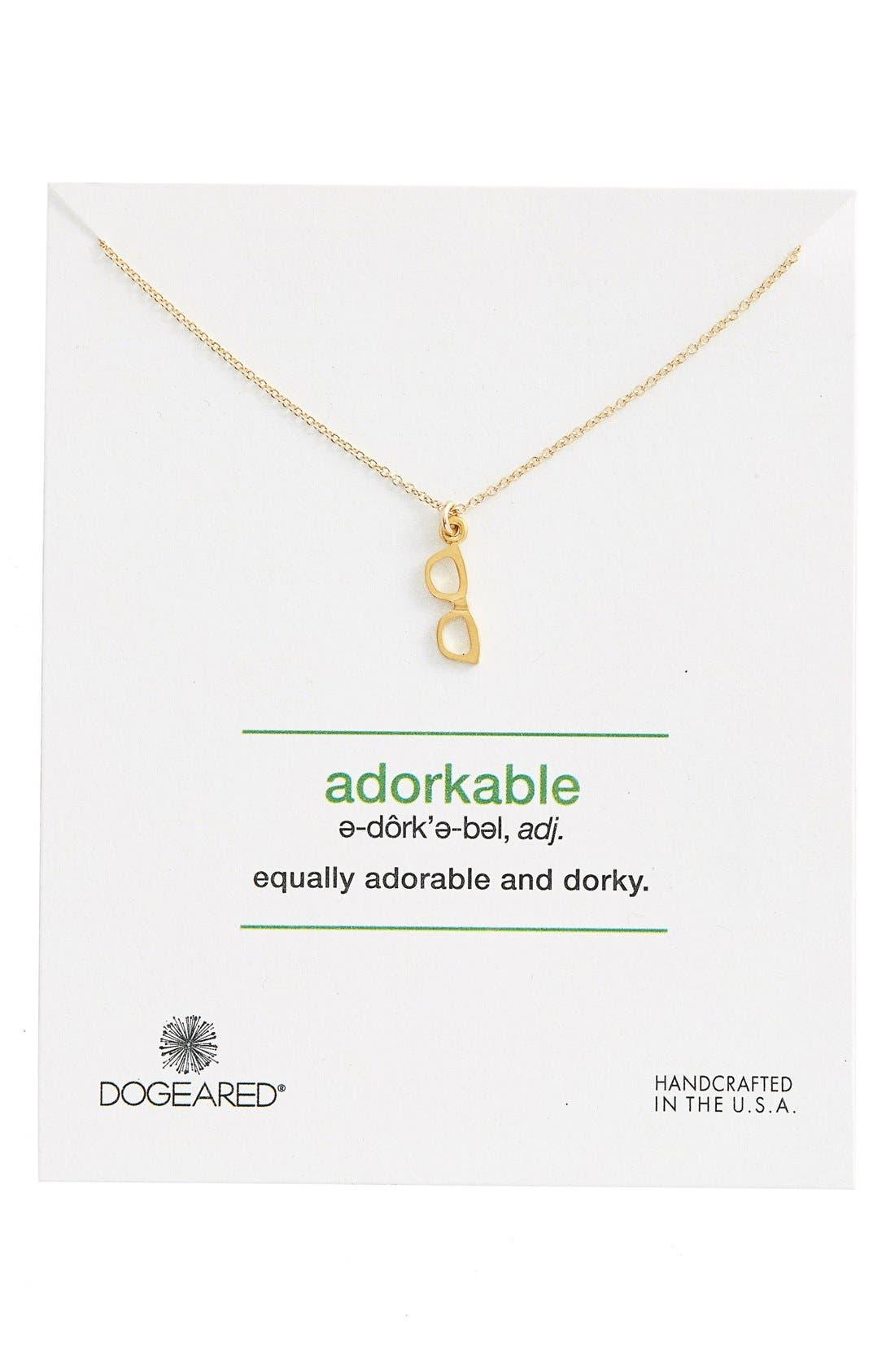 Alternate Image 1 Selected - Dogeared 'Definitions Defined - Adorkable' Glasses Pendant Necklace