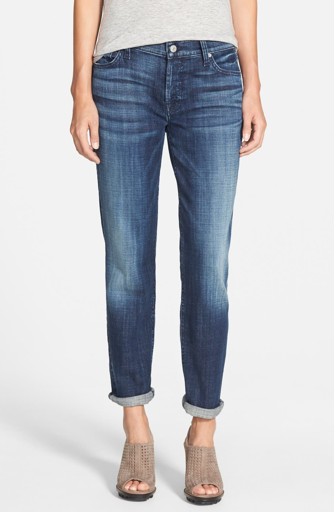 Main Image - 7 For All Mankind® 'Josefina' Boyfriend Jeans (Royal Broken Twill)