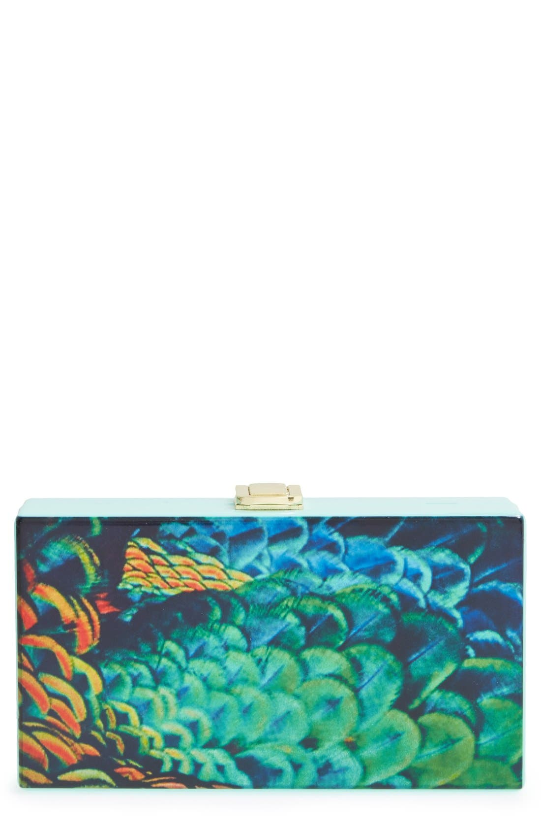 Alternate Image 1 Selected - Natasha Couture Feather Print Box Clutch