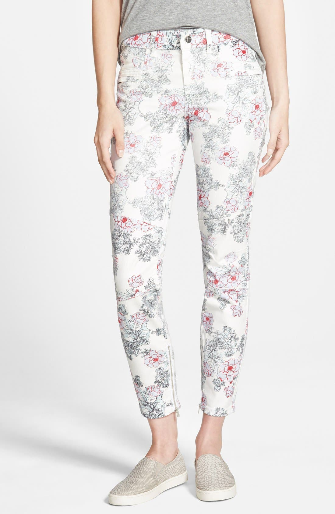 Main Image - Standards & Practices Floral Print Skinny Jeans (White)