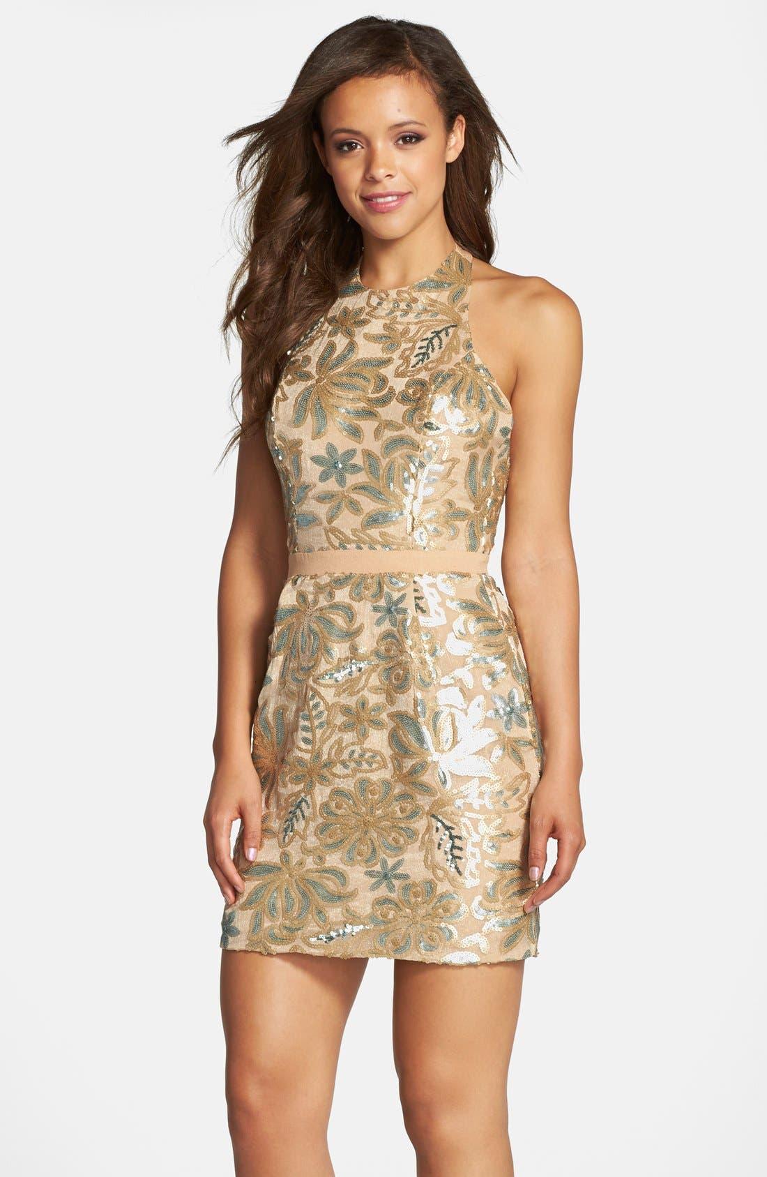Alternate Image 1 Selected - Dress the Population 'Scarlett' Sequin Chiffon Halter Dress