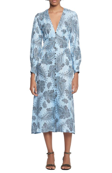 산드로 미디 원피스 Sandro Paisley Long Sleeve Midi Dress,blue
