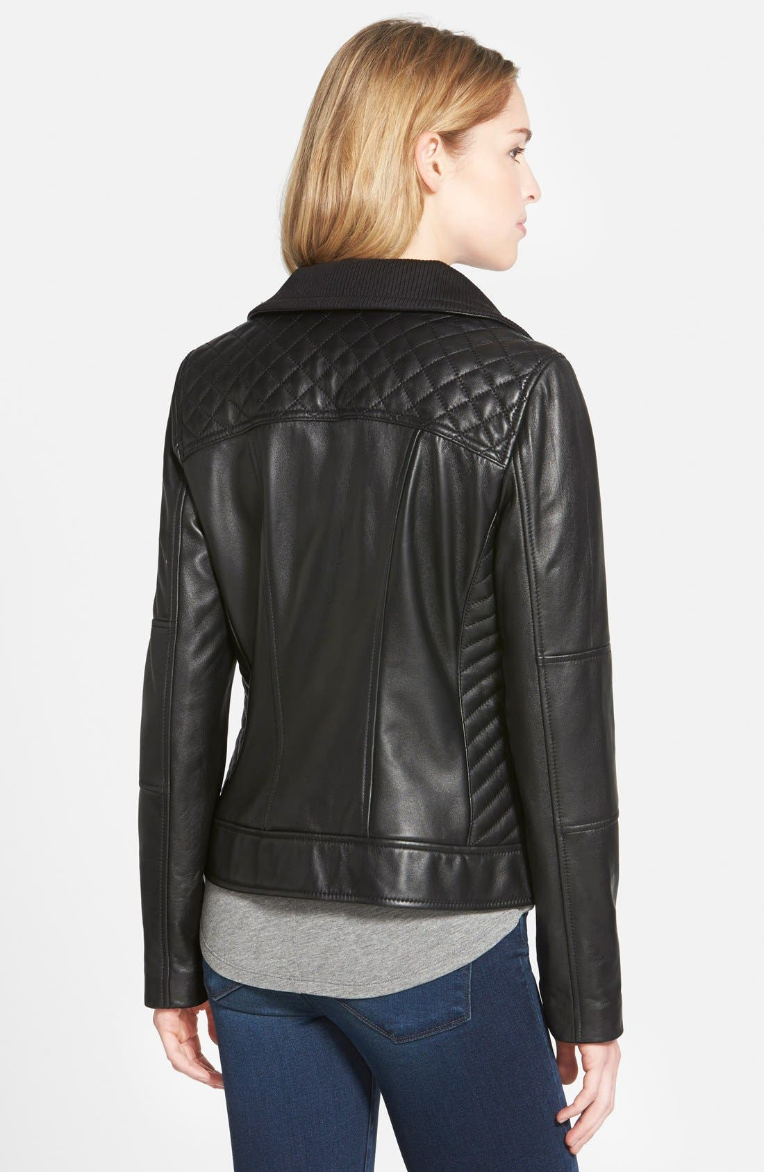 Alternate Image 2  - Cole Haan Knit Collar Lambskin Leather Bomber Jacket