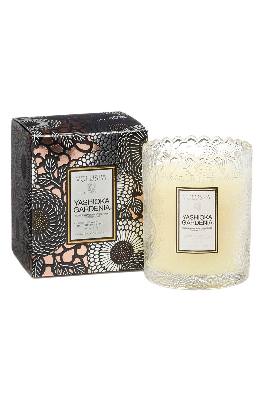 Voluspa 'Japonica - Yashioka Gardenia' Scalloped Edge Glass Candle