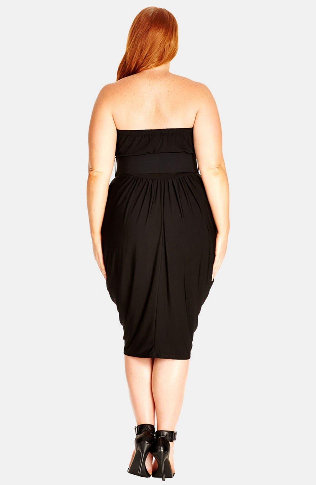 Alternate Image 2  - City Chic 'Drape Sweetheart' Belted Strapless Dress (Plus Size)