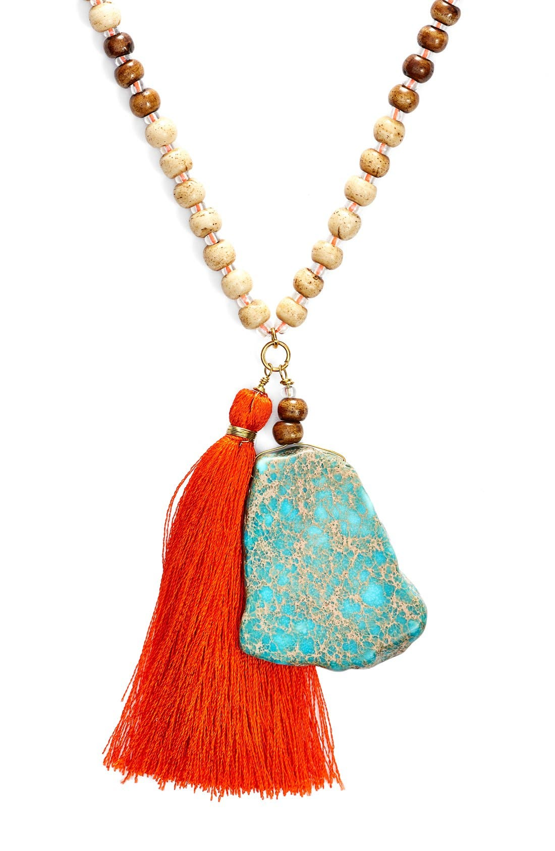 Alternate Image 2  - Panacea Beaded Stone Tassel Necklace