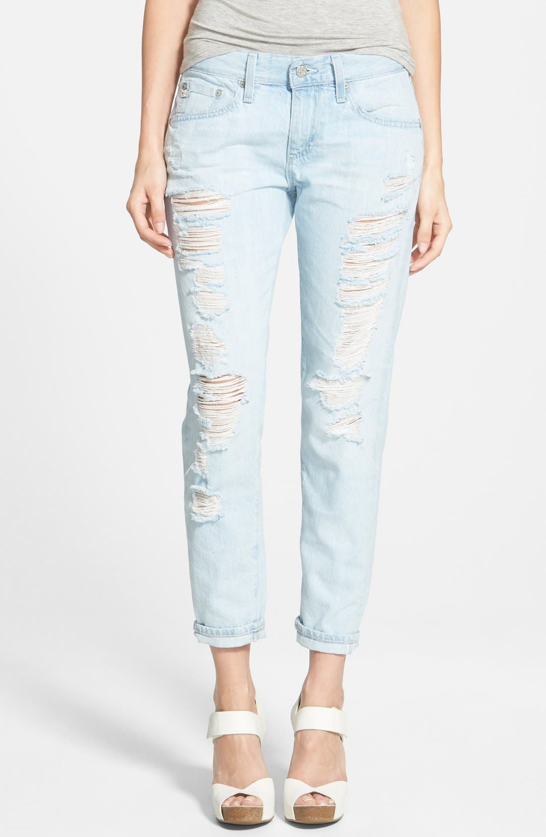 Main Image - AG 'Nikki' Relaxed Skinny Crop Jeans (28 Years Shredded)