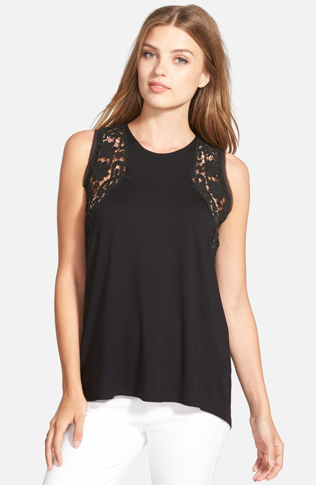 Alternate Image 1 Selected - Vince Camuto Lace Inset Sleeveless Top