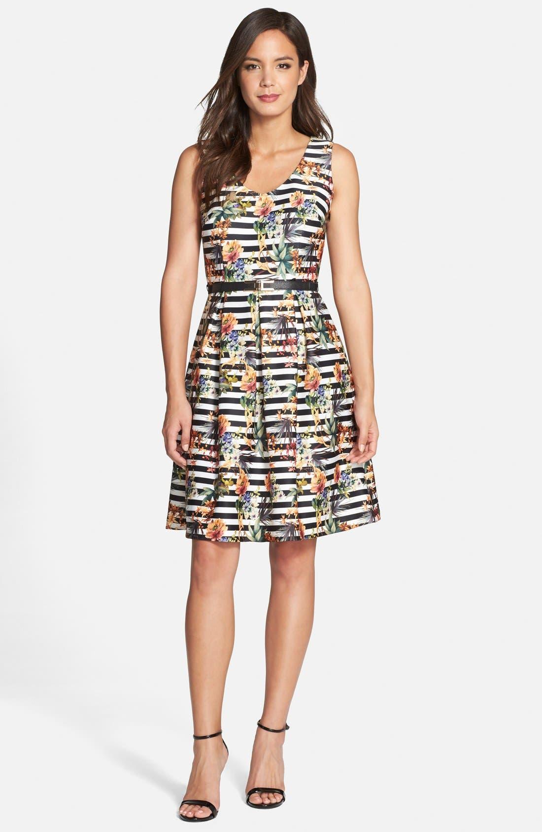 Alternate Image 1 Selected - Chetta B Floral Stripe Fit & Flare Dress