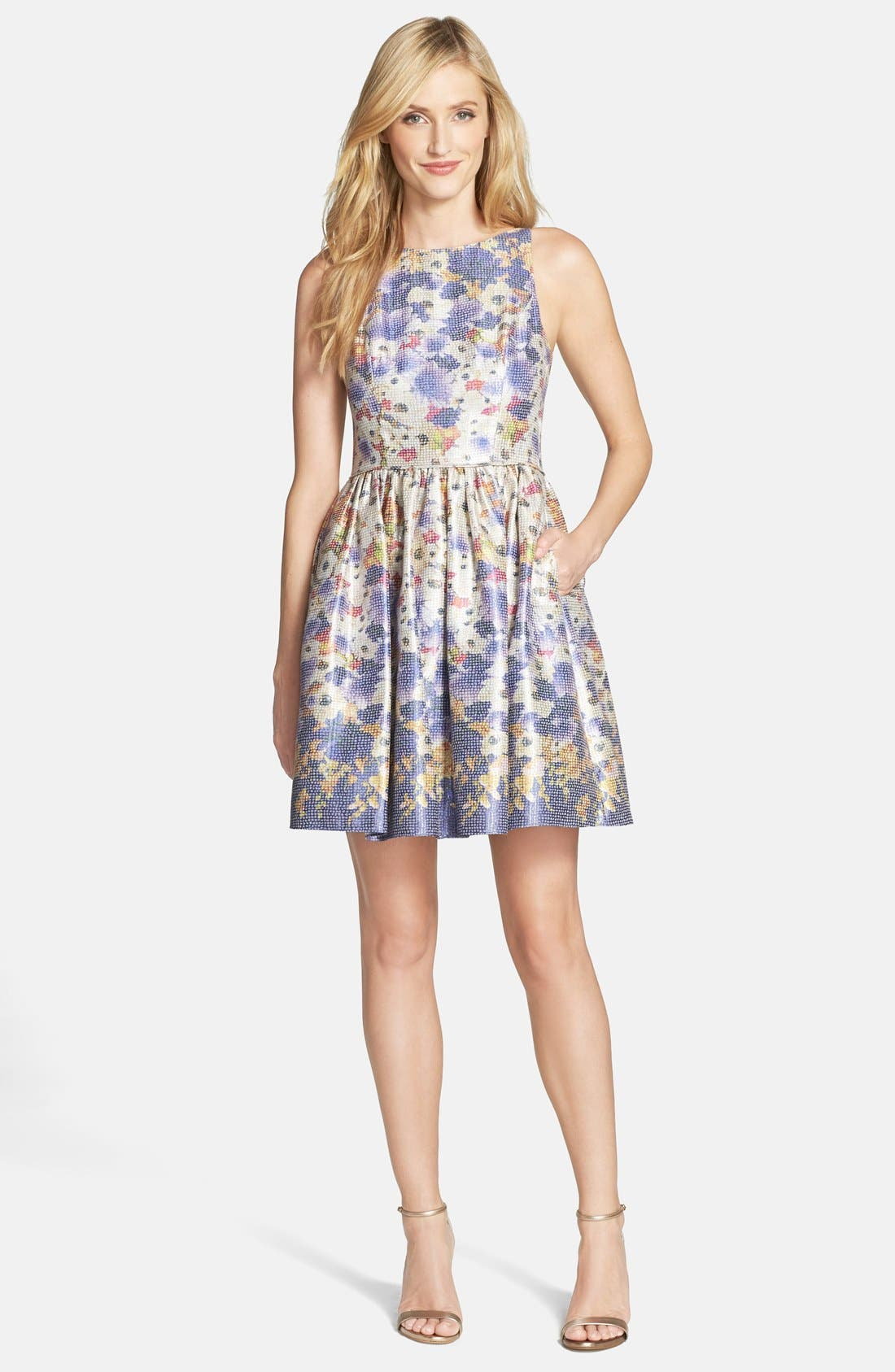 Alternate Image 3  - Adrianna Papell Floral Jacquard Fit & Flare Dress