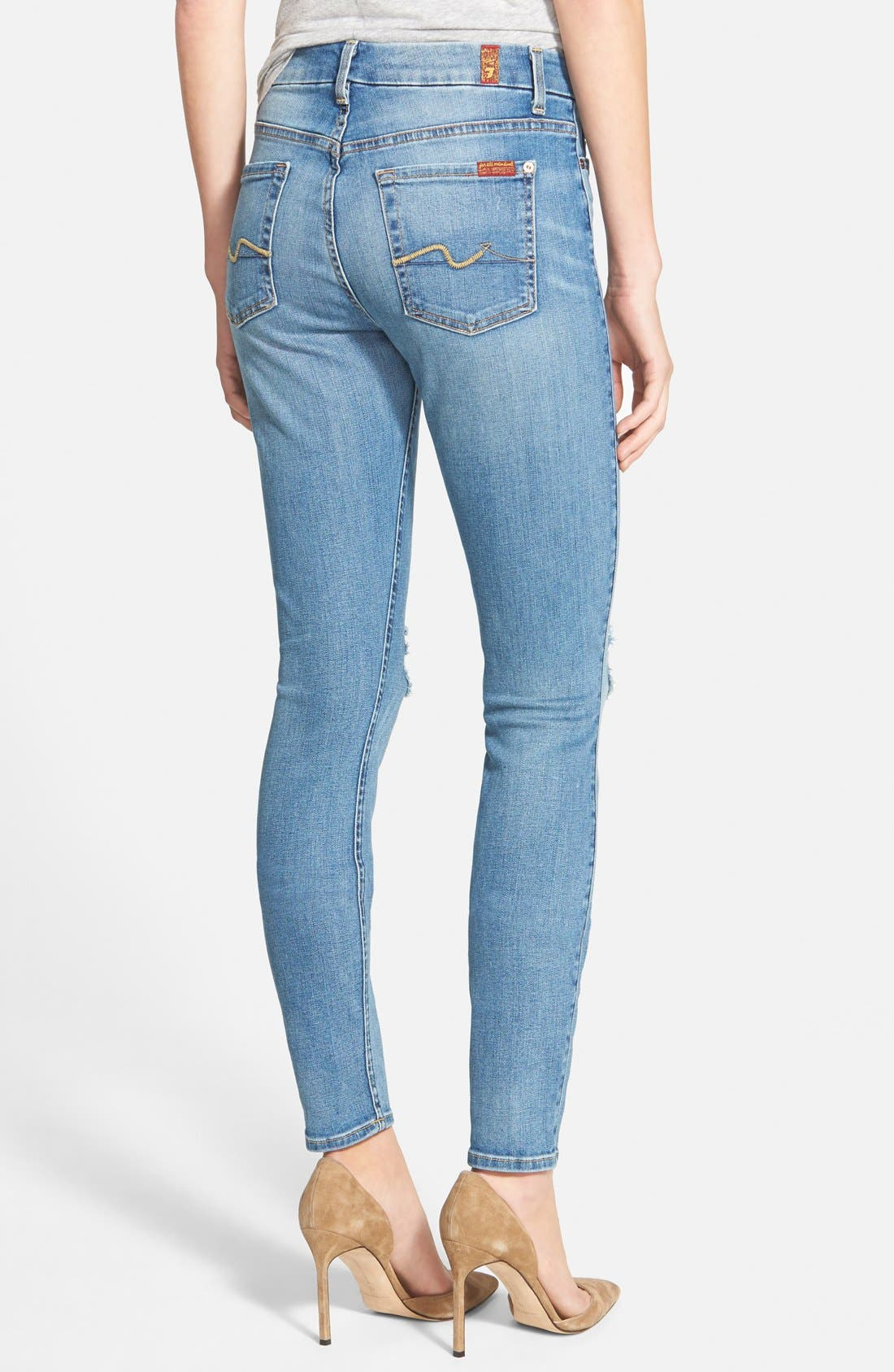 Alternate Image 2  - 7 For All Mankind® High Rise Skinny Jeans (Slone Heritage Medium light 2)