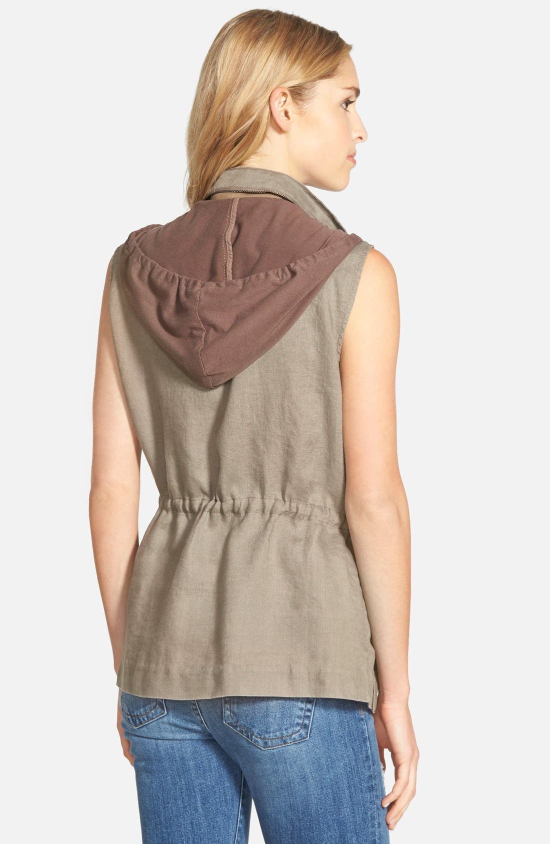 Alternate Image 2  - Gibson Linen Utility Vest with Knit Hood
