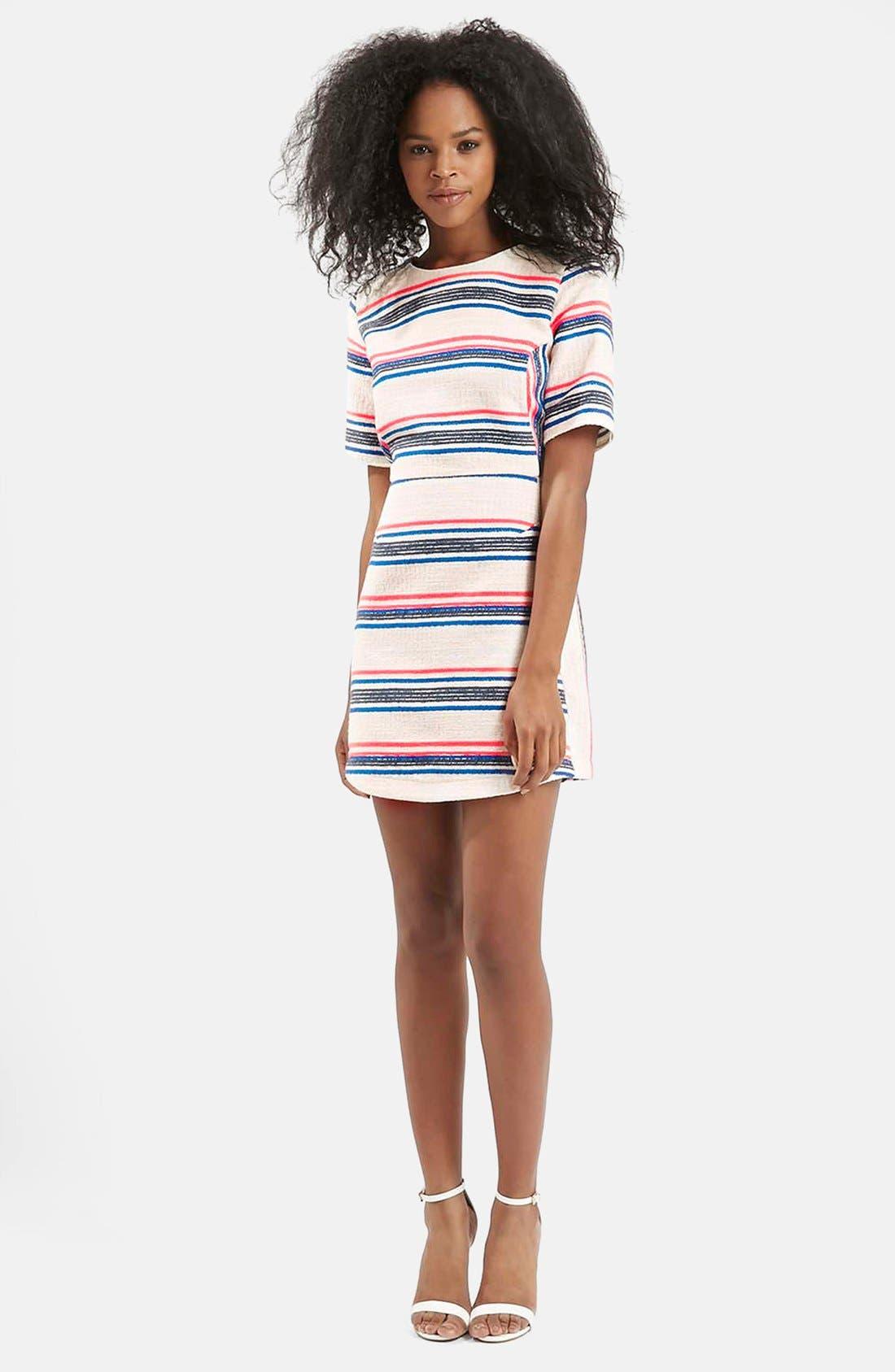 Alternate Image 5  - Topshop Stripe Jacquard A-Line Dress (Regular & Petite)