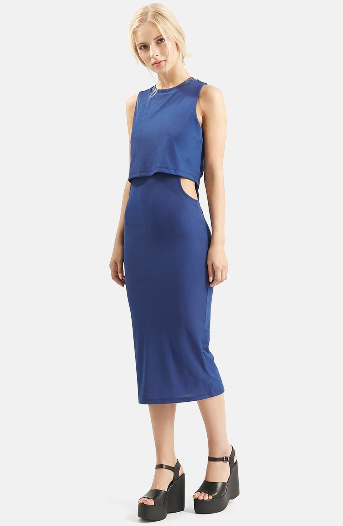 Alternate Image 6  - Topshop Sleeveless Cutout Midi Dress