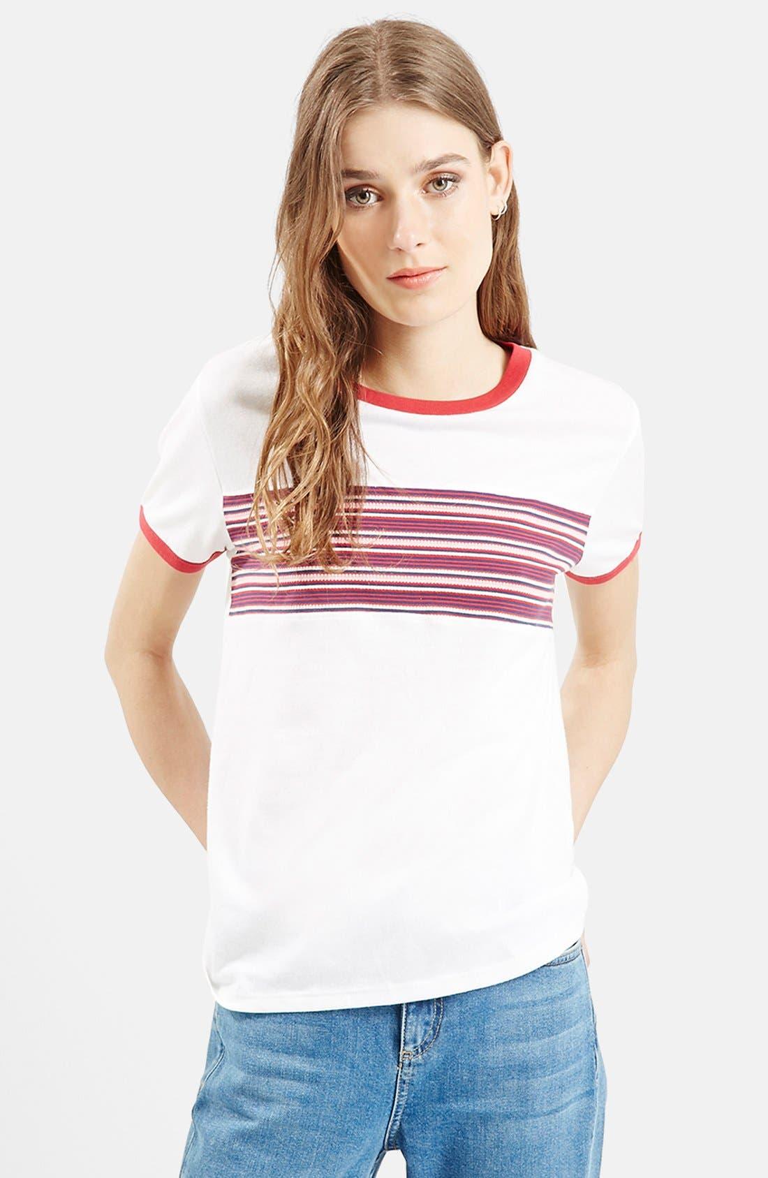 Alternate Image 1 Selected - Topshop Stripe Insert Tee