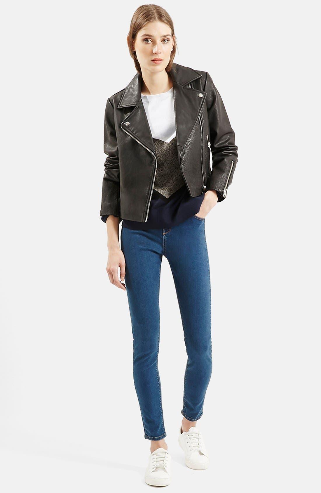 Alternate Image 7  - Topshop Leather Biker Jacket