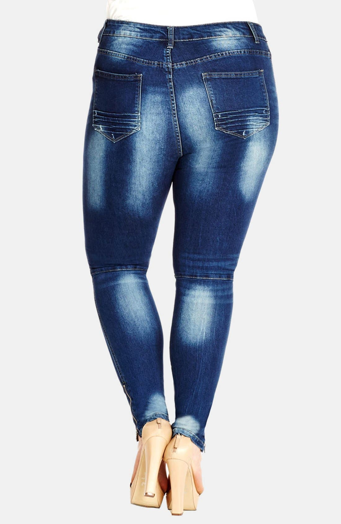 Alternate Image 2  - City Chic 'MX Apple' Stretch Skinny Jeans (Medium Denim) (Plus Size)