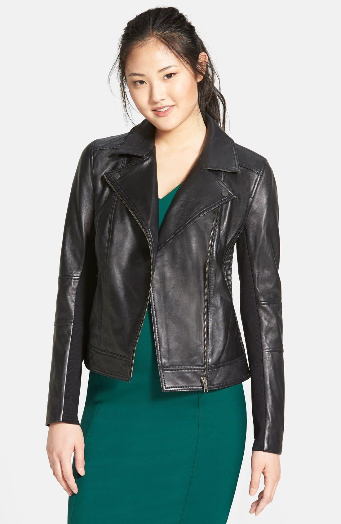 Main Image - Halogen® Smocked Leather Jacket