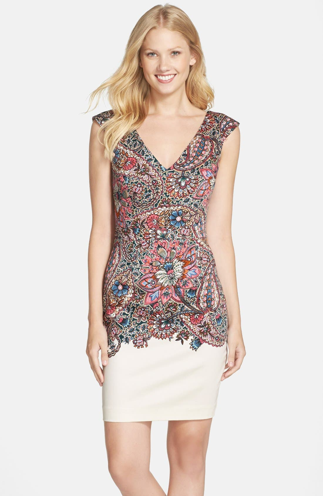 Main Image - French Connection Placed Print Stretch Cotton Sheath Dress